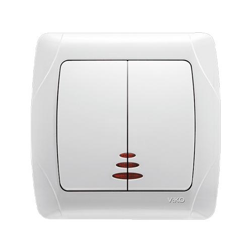 Выключатель двойной с подсветкой Viko carmen белый