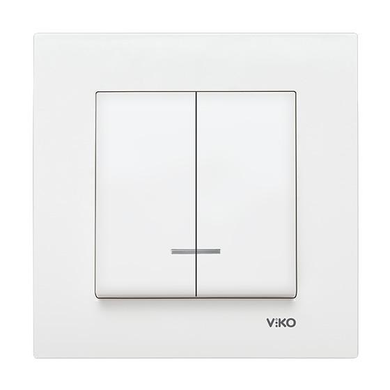 Выключатель двойной с подсветкой Viko karre белый