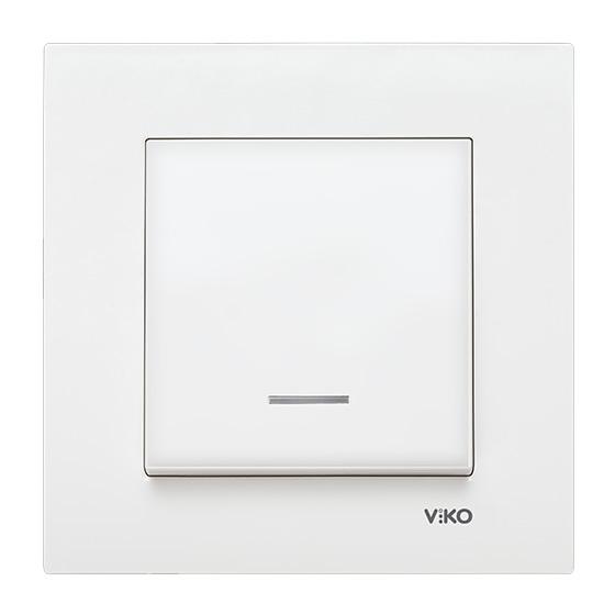Выключатель одинарный с подсветкой Viko karre белый